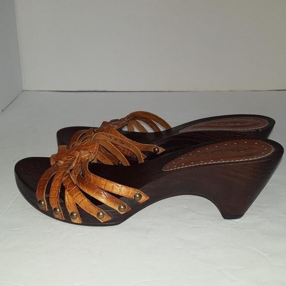 1bbcf7670c6 ALDO Vintage Look Sandal Open Toe Wood Heel Italy